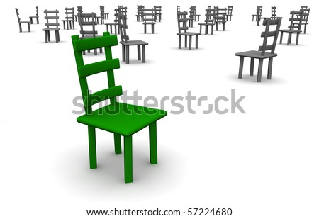 Only green chair with a lot of other chairs in background
