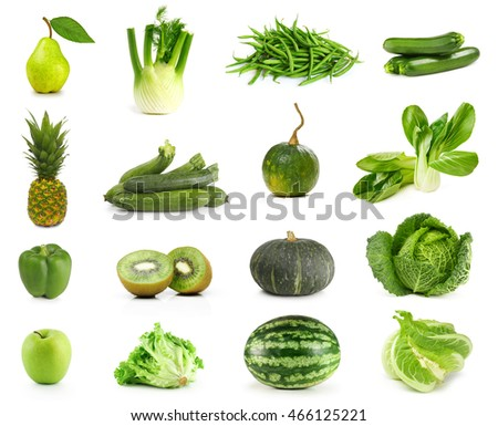 Only Green Fruits and Vegetables isolated on white