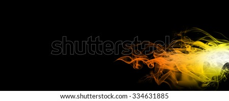 Only red fire flame, smoke on the dark background - stock photo
