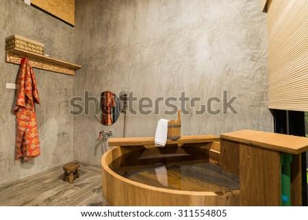 Onsen series : wooden bathtub - stock photo