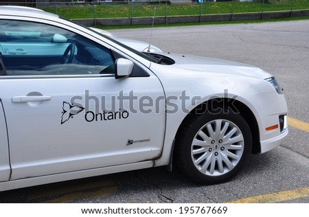Ontario, Canada - May 29, 2014: Service Ontario car seen parked in front of their  office. - stock photo