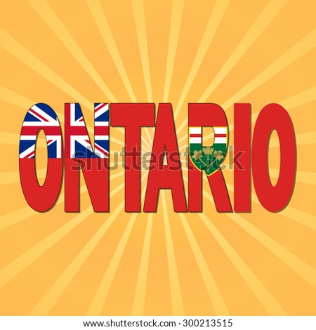 Ontario flag text with sunburst illustration - stock photo