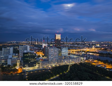 Onu city photographed from Danube Tower in Wien Austria