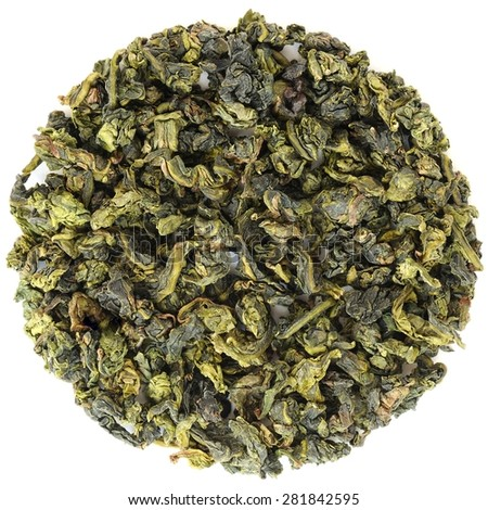 Oolong Fujian Anxi Benshan in round shape isolated - stock photo
