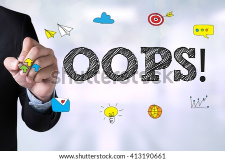 OOPS! and Businessman drawing Landing Page on blackboard - stock photo