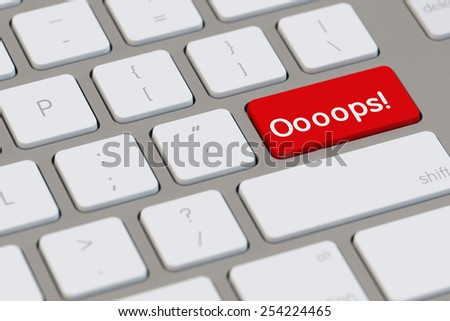 Oops as symbol for error in a computer (3D Rendering) - stock photo