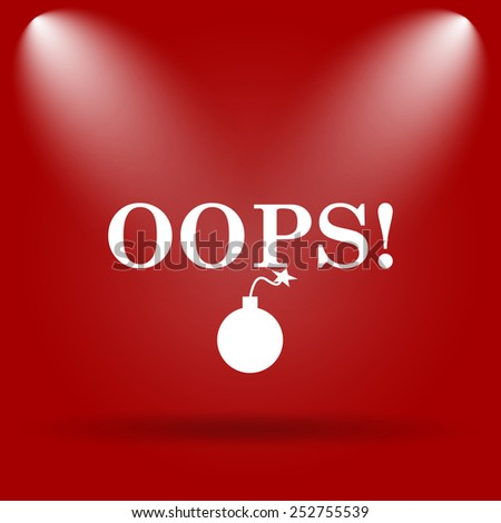 Oops icon. Flat icon on red background.  - stock photo
