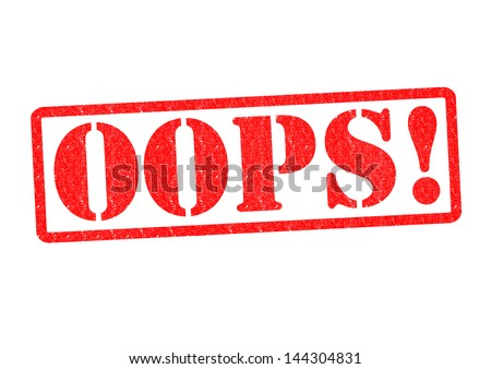 OOPS! Rubber Stamp over a white background. - stock photo