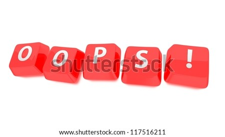 OOPS! written in white on red computer keys. 3d illustration. Isolated background. - stock photo