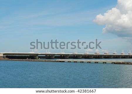 Oosterschelde storm surge barrier - stock photo