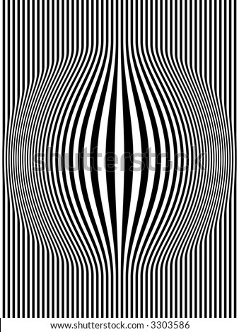 Op Art Bulging Vertical Stripes Black and White One - stock photo