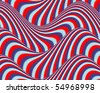 Op Art Flowing Stripes Red Blue Light Blue - stock photo
