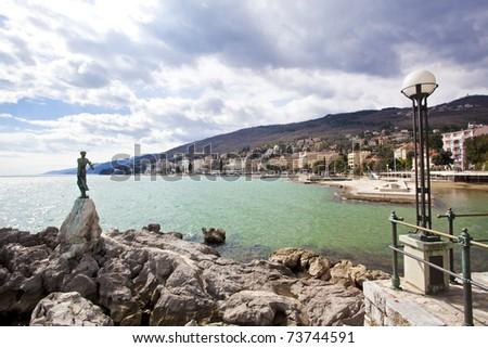 Opatija seascape in Croatia - stock photo