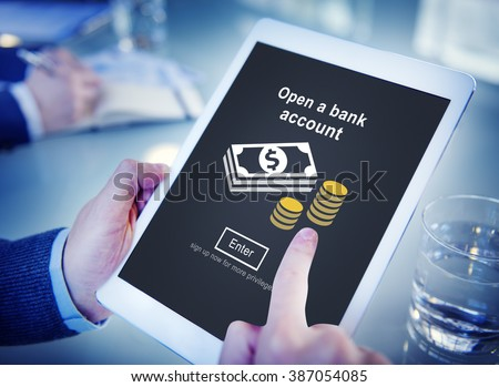 Open a Bank Account Banking Savings Financial Concept - stock photo
