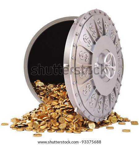 open a bank vault with a bunch of gold coins. isolated on white. - stock photo