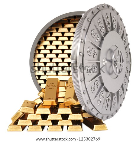 open a bank vault with a gold bullions. isolated on white. - stock photo