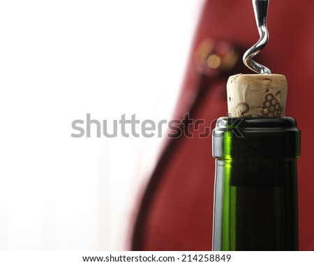 open a bottle of wine - stock photo