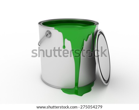Open a bucket of green paint isolated on white background