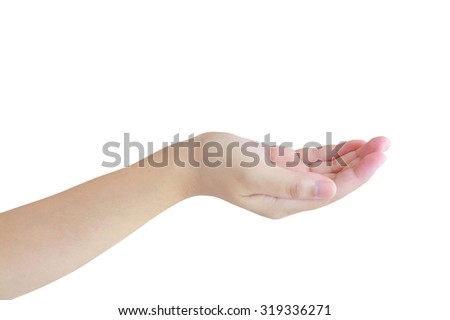 Open a woman's hand, palm up isolated on white background