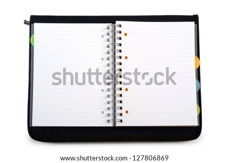open agenda with black cover, on white background - stock photo
