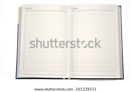 Open agenda with marked hours on pages