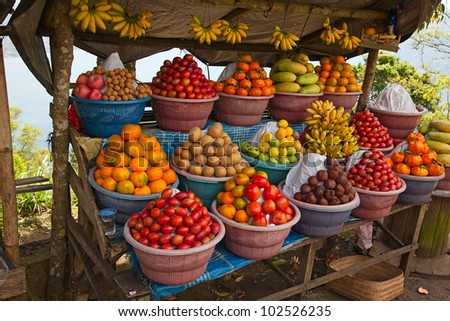 Open air fruit market in the indonesian village - stock photo