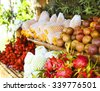 Open air fruit market in the village in Thailand - stock photo