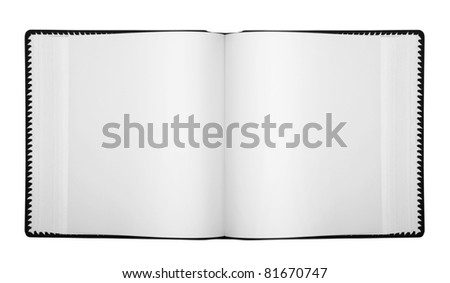 Open album with blank pages, isolated on white (with clipping patch)