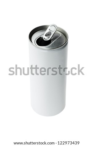 Open Aluminium Drink Can on White Background