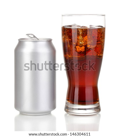 Open aluminum can and glass of cola isolated on white  - stock photo