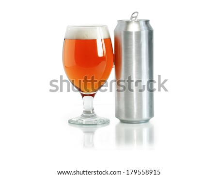 Open aluminum drink can near glass full of beer on white background. Clipping path is included