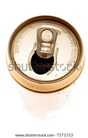 Open aluminum drink can over white