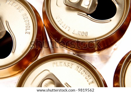 Open aluminum drink cans closeup