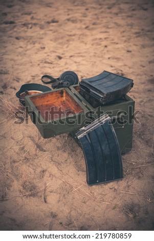 Open ammunition box - stock photo