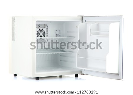 Open an empty mini fridge isolated on white - stock photo