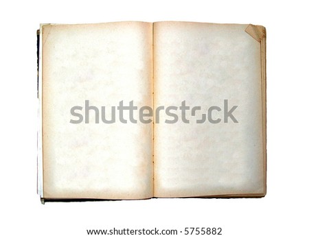 Open ancient book with blank pages