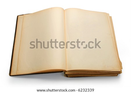 Open ancient book with blank pages, isolated on white background - stock photo