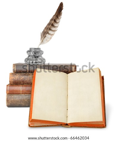 Open ancient book with copyspace, pile of old books and inkstand isolated on white - stock photo