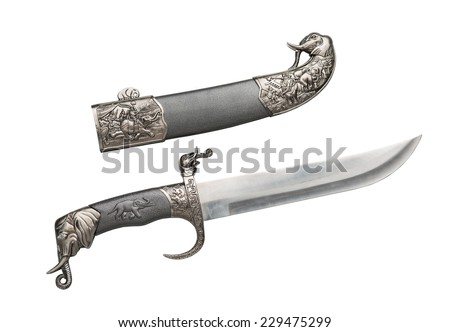 Open ancient dagger with a beautiful ornamental hose and sharp blade, isolated on white background. - stock photo