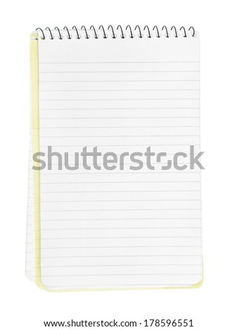 Open and blank pages of a notebook/notepad, isolated on white background. - stock photo