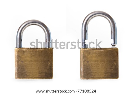 Open and close padlock isolated on white background.