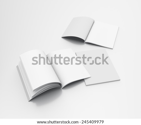 open and closed catalogs or magazines in A4 size isolated