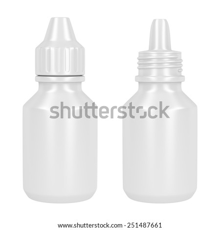 Open and closed containers for eye drop, isolated on white - stock photo
