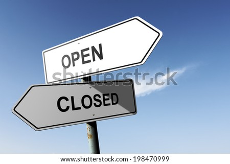 Open and Closed directions. Opposite traffic sign. - stock photo