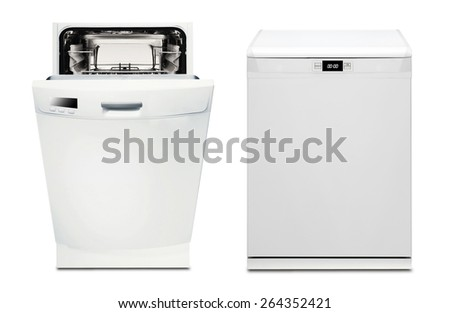 open and closed dishwasher - stock photo
