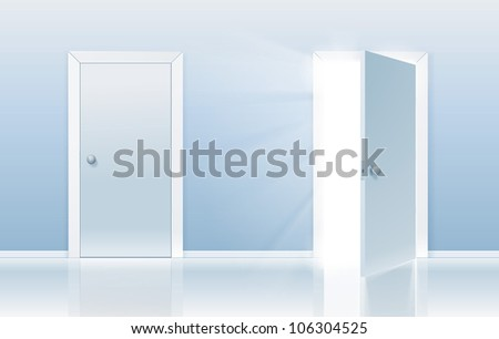 Open and closed door concept. One door is closed and the other one is opening up to new opportunities. - stock photo