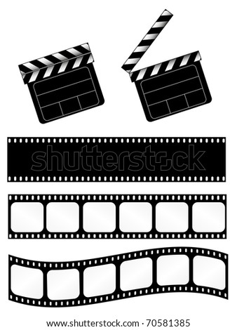 Open and closed movie clapper + 3 film strips. Also available as vector. - stock photo