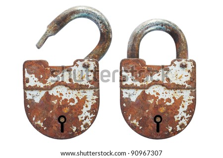 Open and closed old lock - stock photo