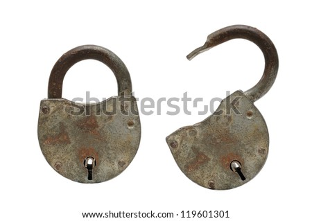 open and closed padlocks isolated om white - stock photo