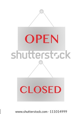 Open and closed signs isolated on white - stock photo